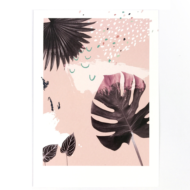 affiche A4 plant on pink chic and pepper 1