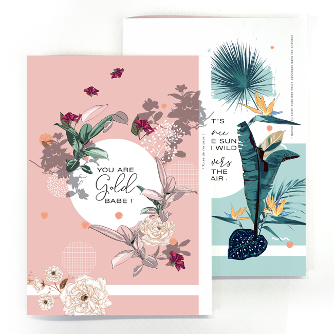 duo cahier chic and pepper gold- wild flower