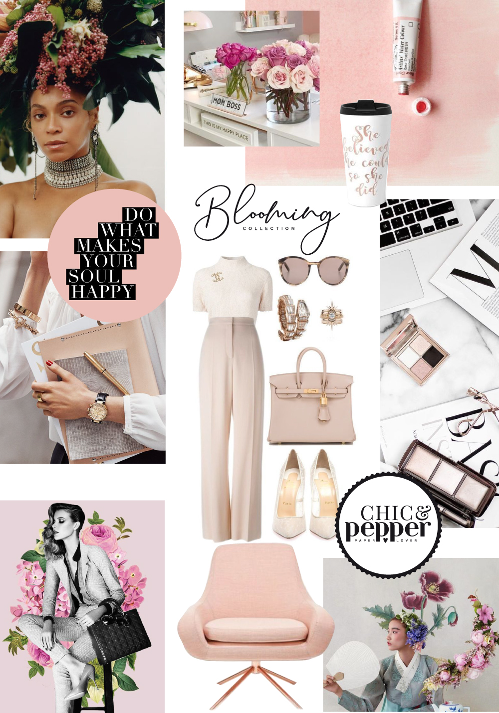 mood board collection blooming girl boss chic and pepper 1